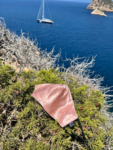 mulberry silk face mask in rose gold by uncu london