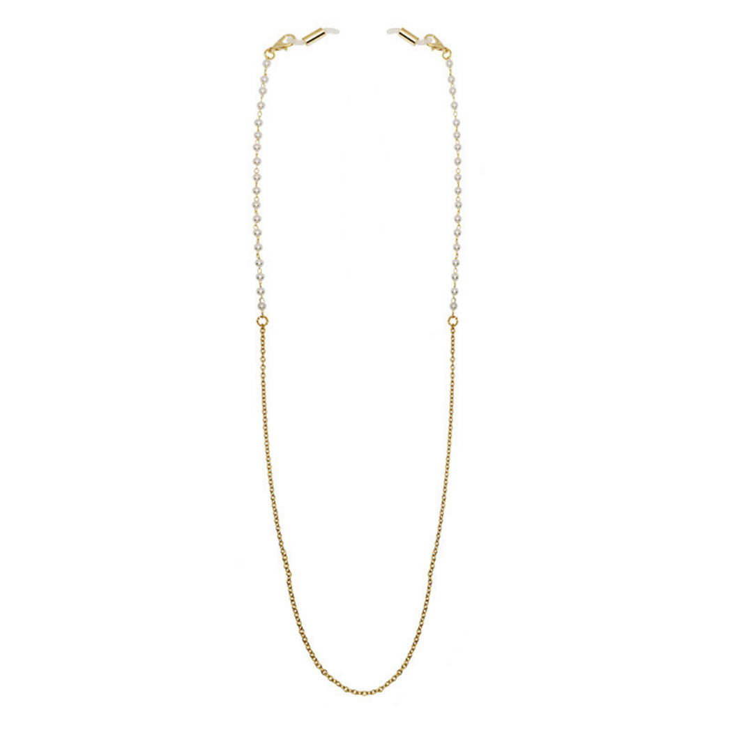 Face Mask Necklace Chain - Gold and Pearl - UNCU London™