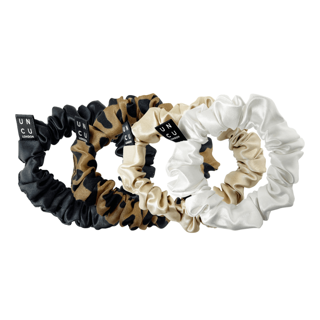 mixed set of 4 medium mulberry silk scrunchie