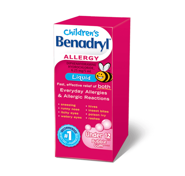 Benadryl Liquid Child Bubble Gum Flavor