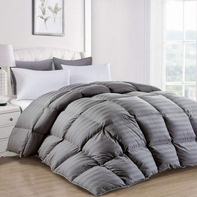striped grey goose down comforter