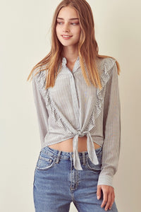 Mandarin Collar Striped Top