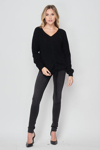 Ruched Front Tie Knit Sweater
