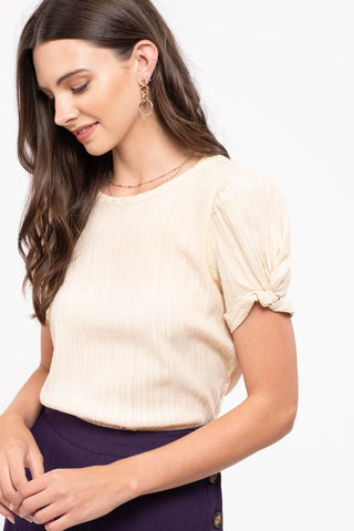 Woven Puff Sleeve Top