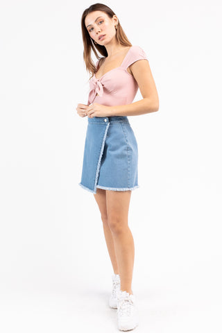 Frayed Edge Denim Mini Skirt