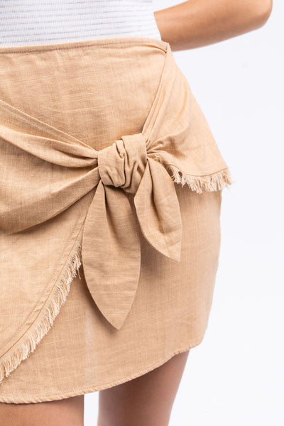 Linen Side Tie Mini Skirt