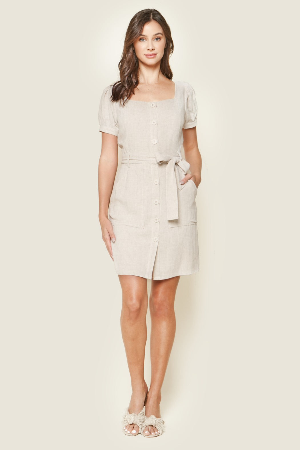 Natural Button Up Dress