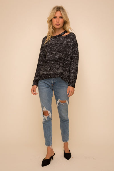 Cut Out Speckle Sweater