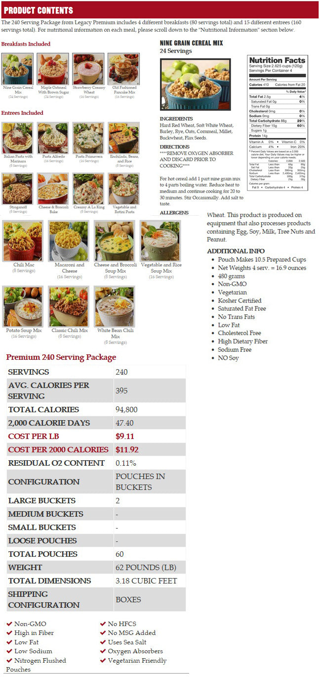 360 servings 3 month food supply best price storage survival food emergency food legacy