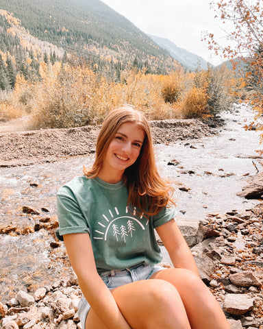 Pine Tree Sun Light Green T-shirt