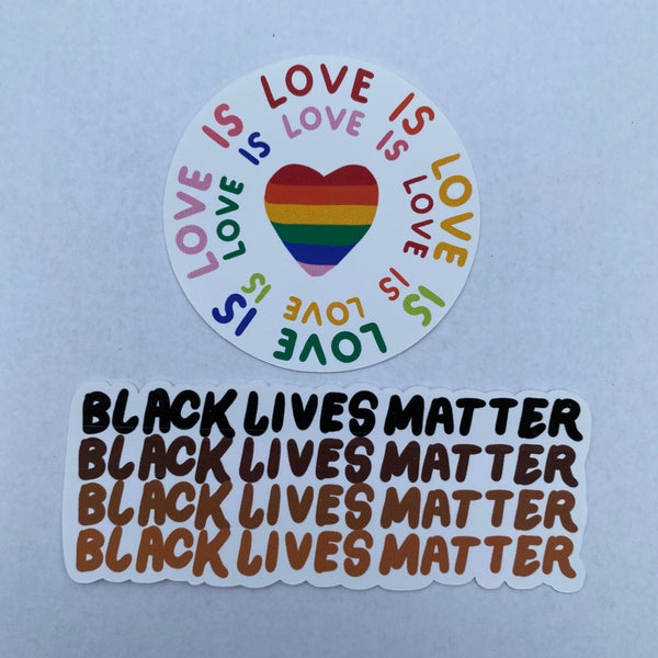 Black Lives Matter, Pride, LGBTQ+, BLM stickers
