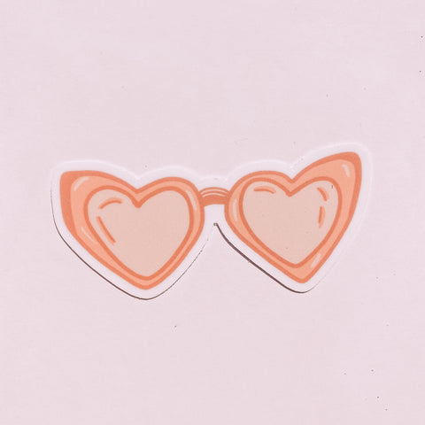 Heart Shaped Rose Colored Sunglasses sticker
