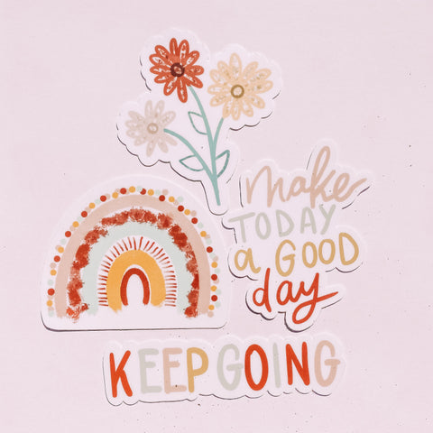 Artsy Stickers Pack Keep Going Make Today a Good Day Rainbow Flower
