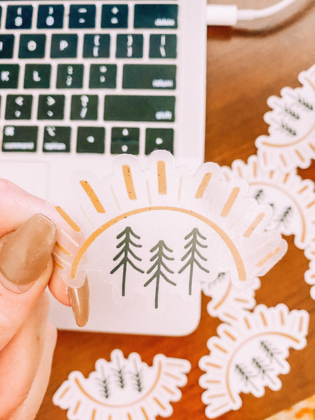 CLEAR Pine Tree Sun Sticker