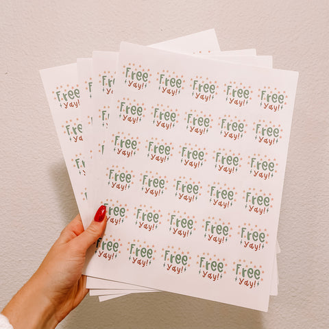 Free YAY! Packaging Sticker Sheets