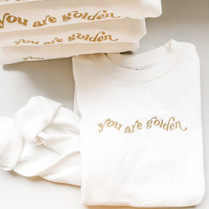 You Are Golden Cream Luxe Embroidered Crewneck Sweatshirt