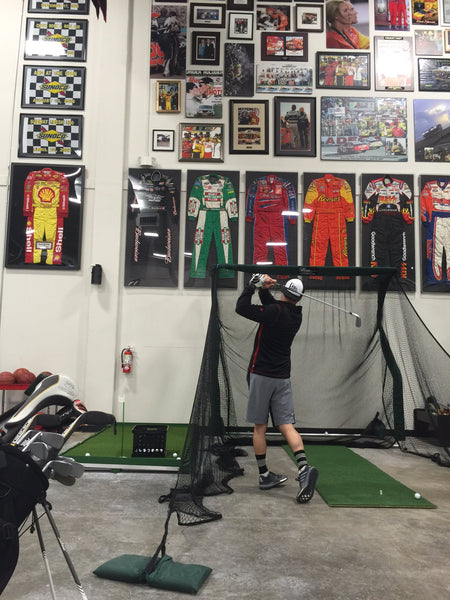 Kevin Harvick Nascar Driver Using a Net Return Pro Series Golf Net
