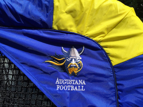 Augustana Football Kicking Net Logo Close Up
