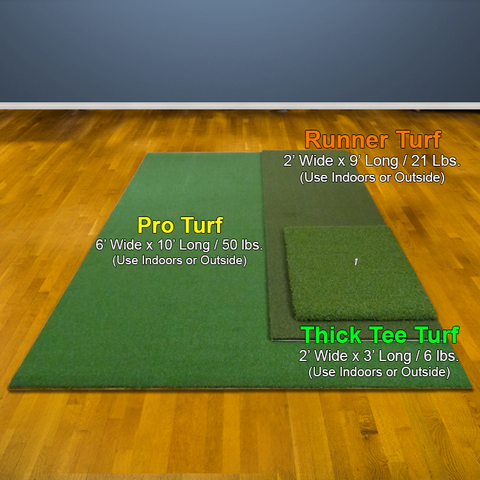 Pro Turf, Runner Turf, Thick Tee Size Comparison