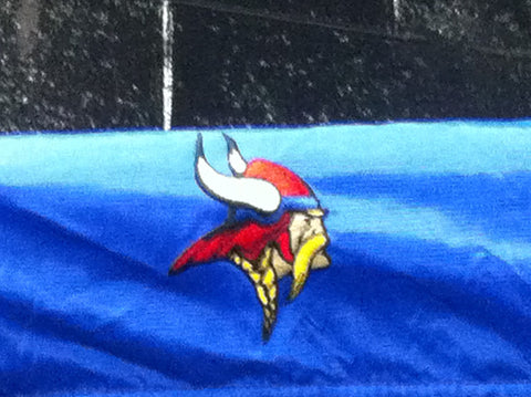 Close Up of Embroidered Logo for Decorah Vikings