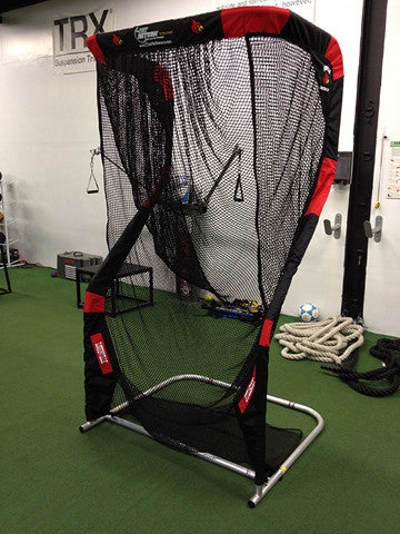 Angled View of Louisville Cardinal Kicking Net
