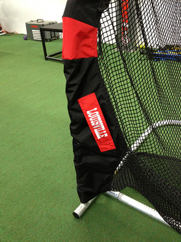 Lower Leg of Louisville Cardinals Kicking Net