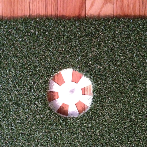 Top View of Putting Cup Base Installed in Golf Turf