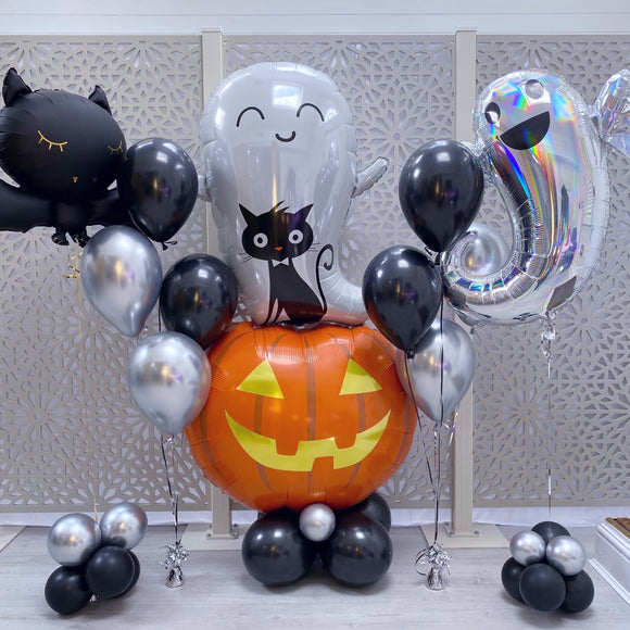 Happy Halloween Pumpkin, Cute Bat, Ghost Combo Balloon Bunch