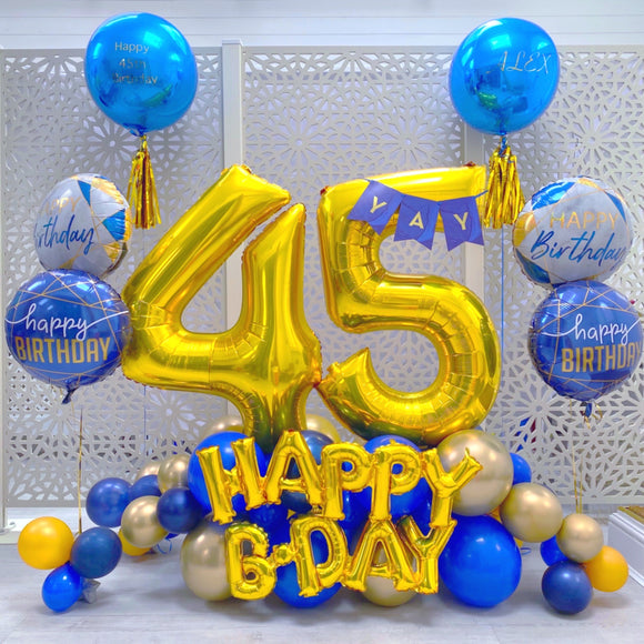 Gold and Blue Balloons Display