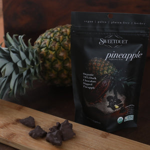 Load image into Gallery viewer, Organic 78% Chocolate Dipped Pineapple - Sweetduetchocolate