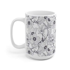 Botanical Magnolia Ceramic Coffee Mug, 11oz - 15oz