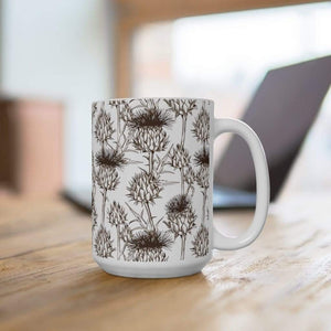 Botanical Thistle Ceramic Coffee Mug, 11oz - 15oz