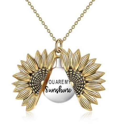 "Unique Sunflower Necklace-""You Are My Sunshine"""