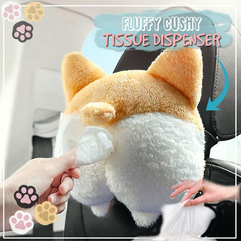 Fluffy Cushy Corgi Car Tissue Dispenser