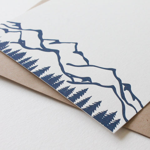 Letterpress stationery with mountains and trees