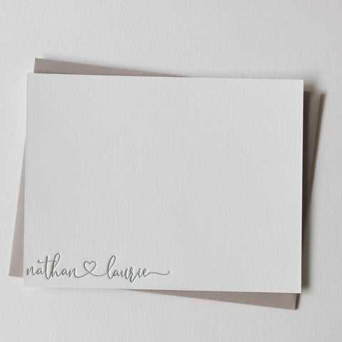 Letterpress cards custom with names and heart, personalized stationery, letterpress stationery