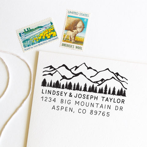 Mountains and trees return address stamp, state, self inking