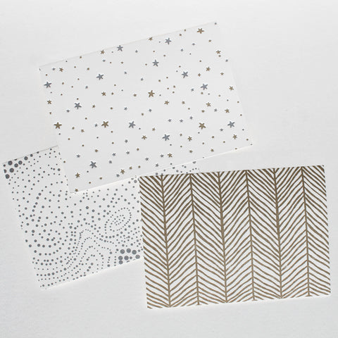 Letterpress card set, blank inside, patterns, dots, herringbone, stars, gold and silver