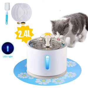 Pet Cat Fountain 2.4L Drinking Window LED Automatic