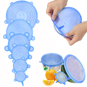 6 Pcs Silicone Keeping Fresh Seal Reusable Bowl Pot