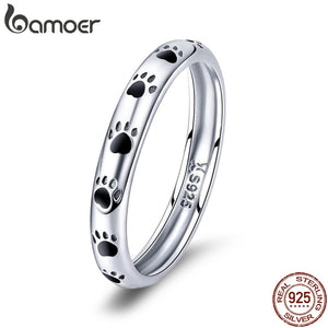 BAMOER 925 Sterling Silver Stackable Dog Cat Finger