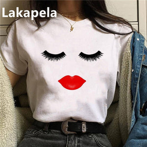 2020 90's Makeup Eyelashes T Shirt Women Beauty