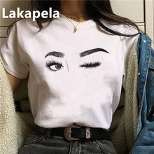 Load image into Gallery viewer, 2020 90's Makeup Eyelashes T Shirt Women Beauty