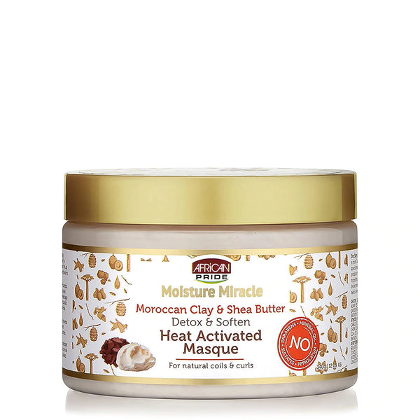 AFRICAN PRIDE MOISTURE MIRACLE MOROCCAN CLAY & SHEA BUTTER                                                                      HEAT ACTIVATED MASQUE 349g/12oz