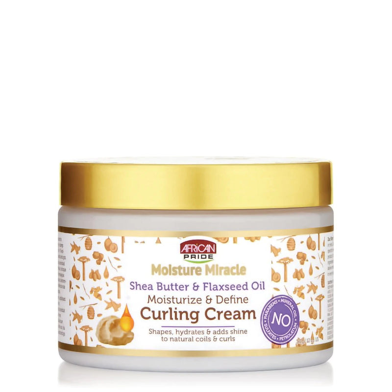AFRICAN PRIDE MOISTURE MIRACLE SHEA BUTTER & FLAXSEED OIL  CURLING CREAM            349/g/12oz