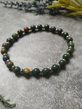 Load image into Gallery viewer, Green Bloodstone Stretch Bracelet