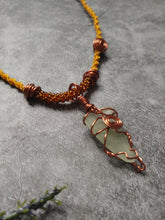 Load image into Gallery viewer, Yellow Seaglass Copper Kumihimo Necklace