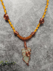 Yellow Seaglass Copper Kumihimo Necklace