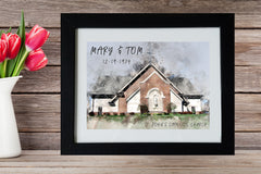 Wedding Watercolor Art, Church Portrait, Anniversary gift