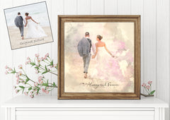 Watercolor Wedding Portrait, Anniversary gift, personalized,custom